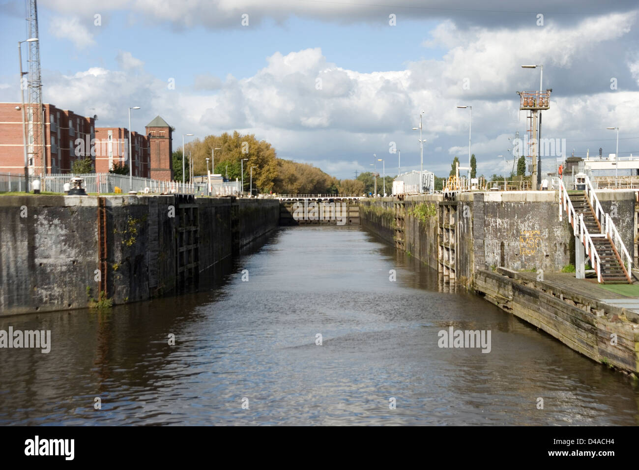 Irlam Locks on the Manchester Ship Canal from the Mersey Ferry - Stock Image