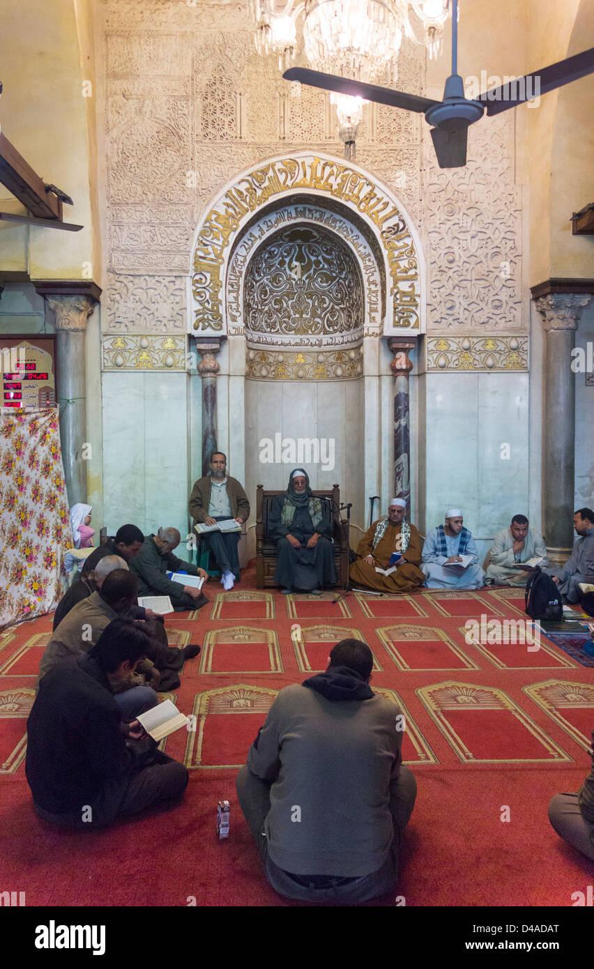 adult Quran class, al-Azhar Mosque, Cairo, Egypt - Stock Image
