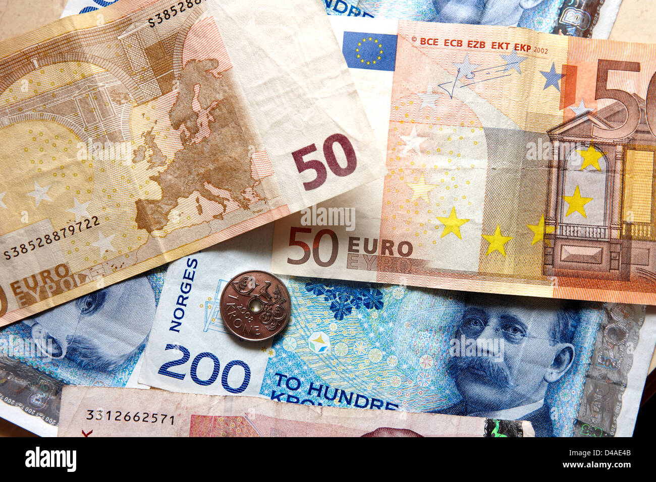 euros and norwegian kroner currency - Stock Image
