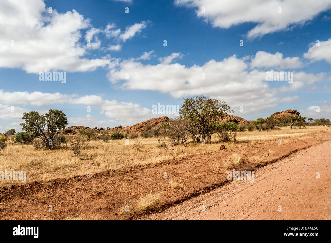 African landscape with dramatic clouds in Tsavo National Park, Kenya - Stock Image