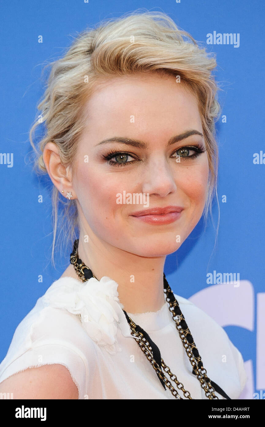 New York, USA. 10th March 2013. Emma Stone attends the world premiere of 'The Croods' at AMC Loews Lincoln - Stock Image