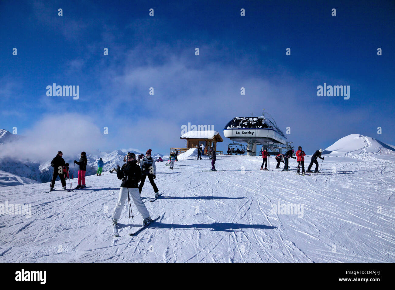 Le Derby chairlift, Les Arcs, Savoie, France, Europe - Stock Image