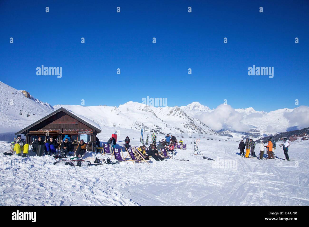 Les Bosses restaurant, 2300m, Les Arcs, Savoie, France, Europe - Stock Image