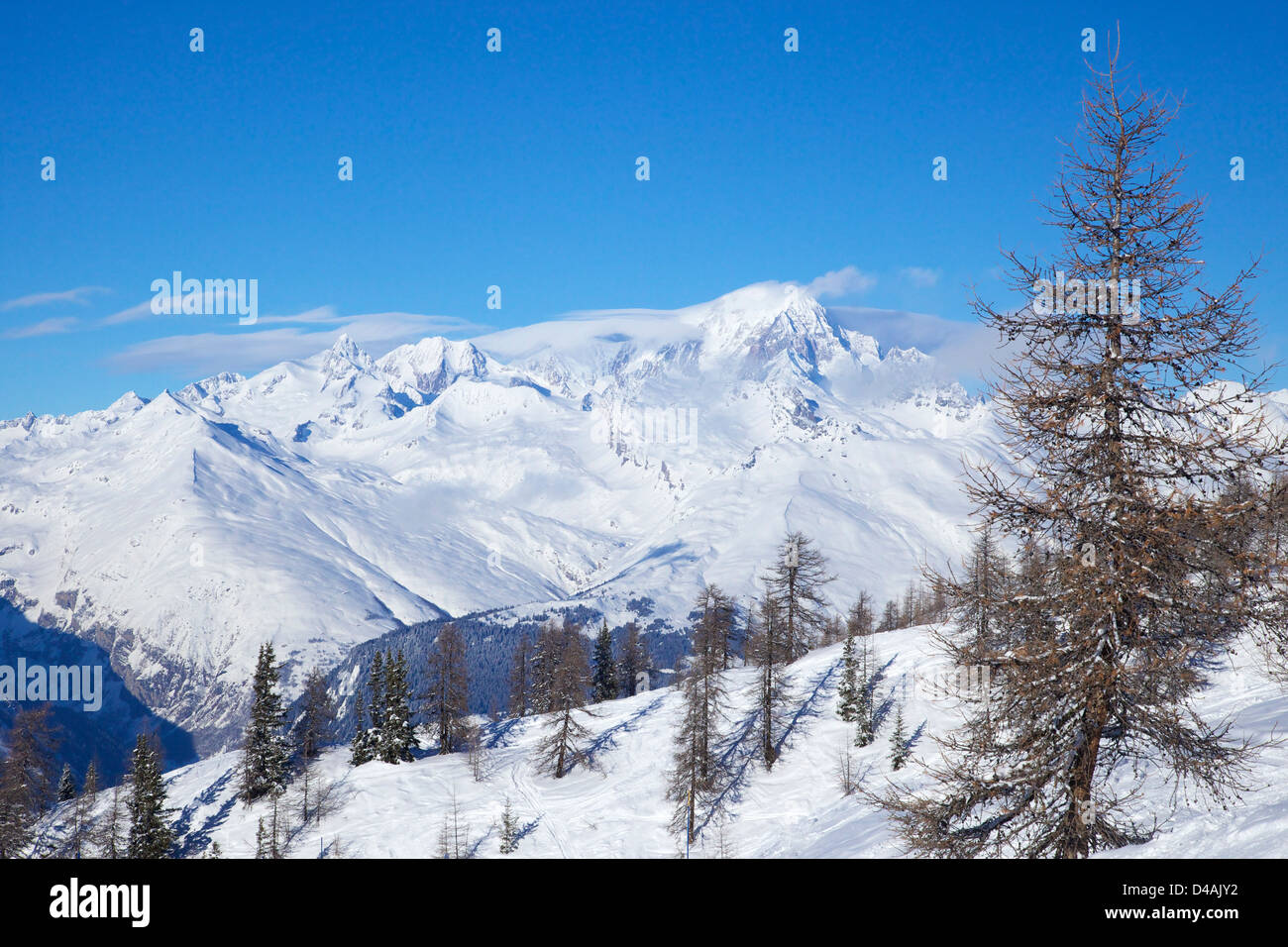 Mont Blanc from Peisey-Vallandry, Les Arcs, Savoie, France, Europe - Stock Image