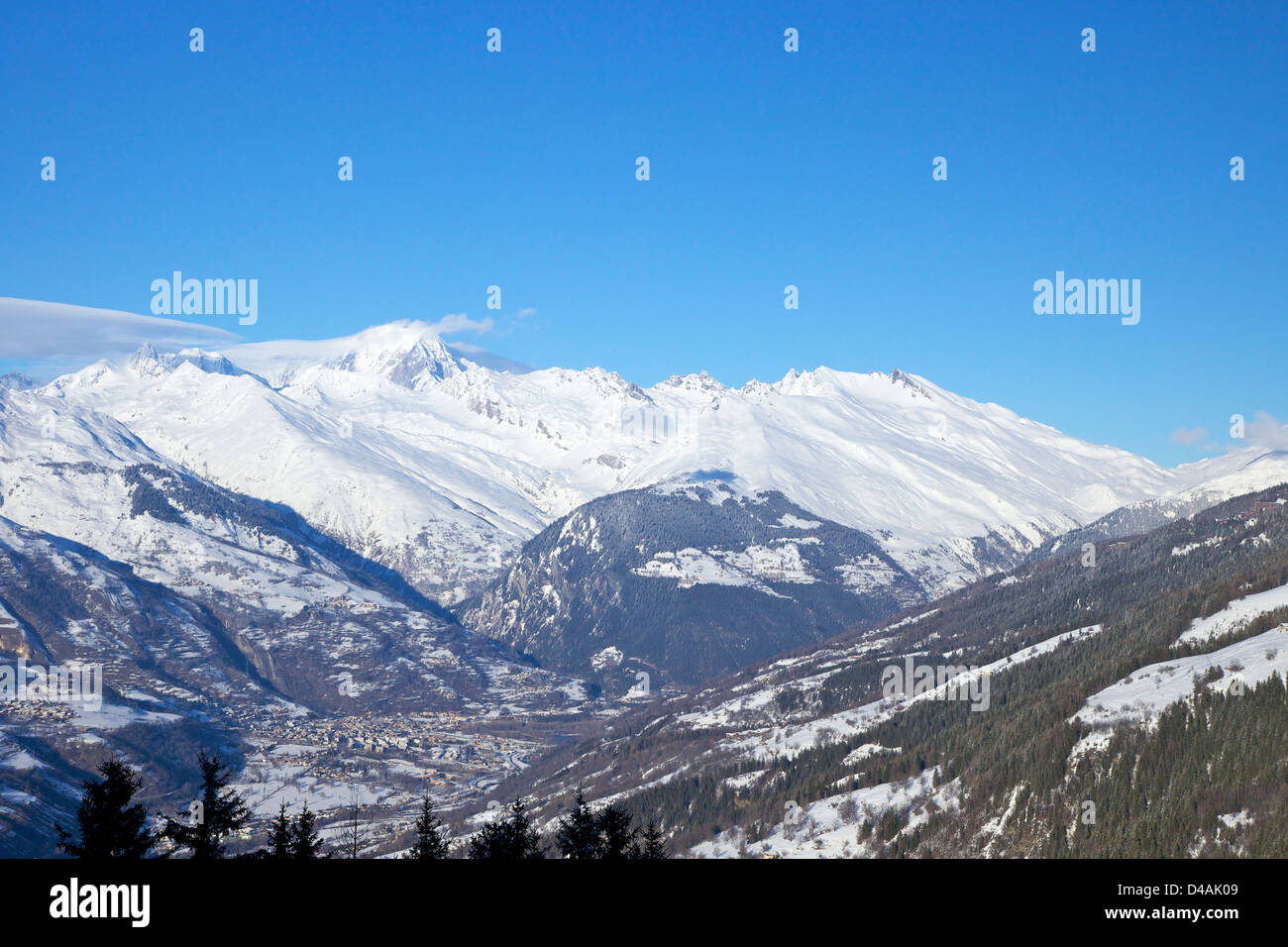 Mont Blanc from Les Coches, Les Arcs, Savoie, France, Europe - Stock Image