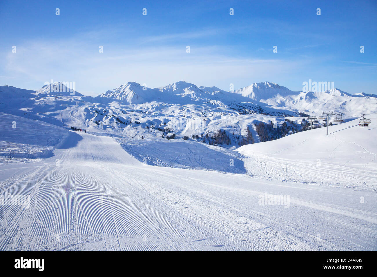 View from St Jacques blue piste towards Belle Plagne, La Plagne, France, Europe - Stock Image