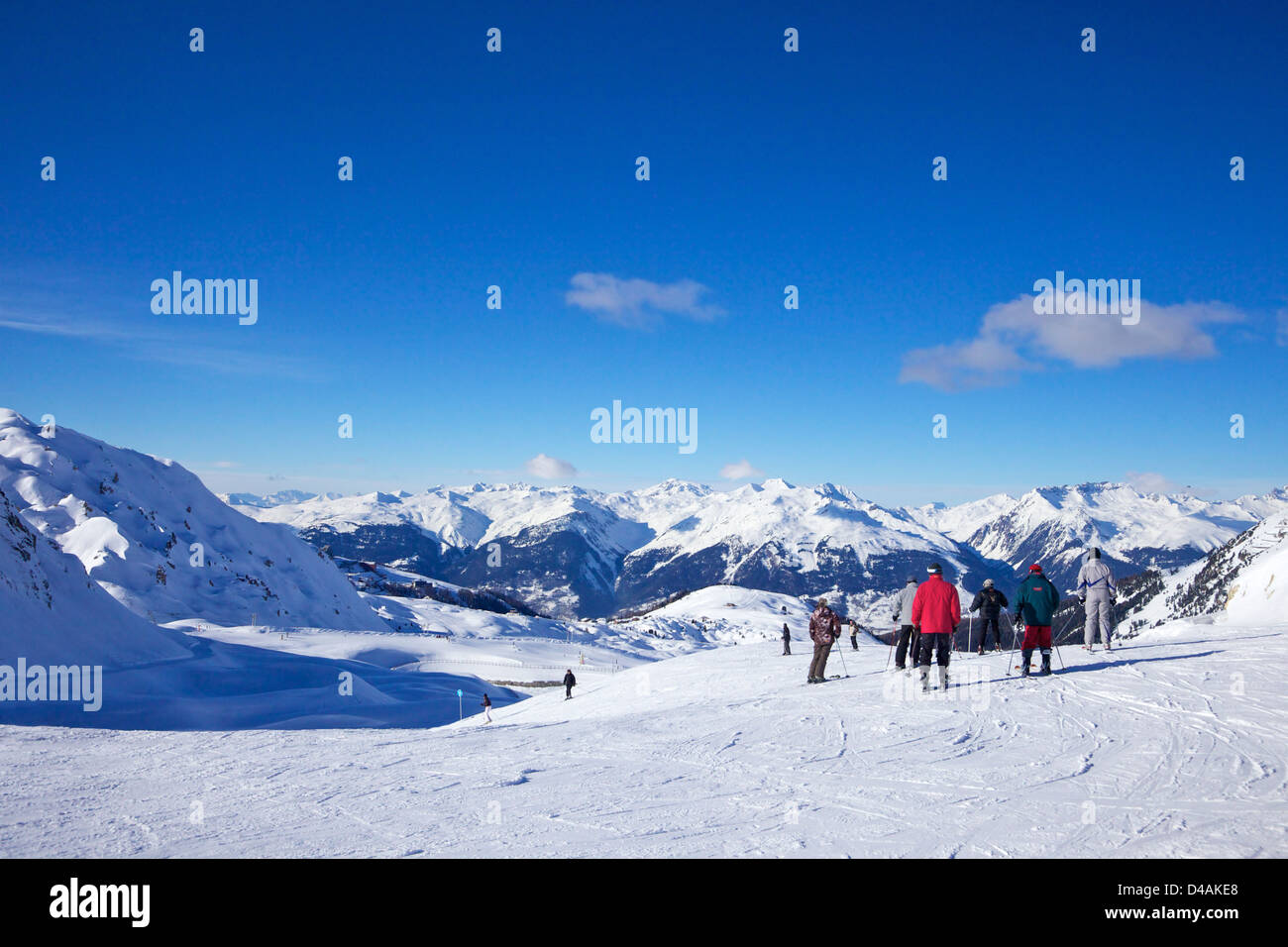 La Tome, blue piste, top of La Rossa, winter sun, La Plagne, France, Europe - Stock Image