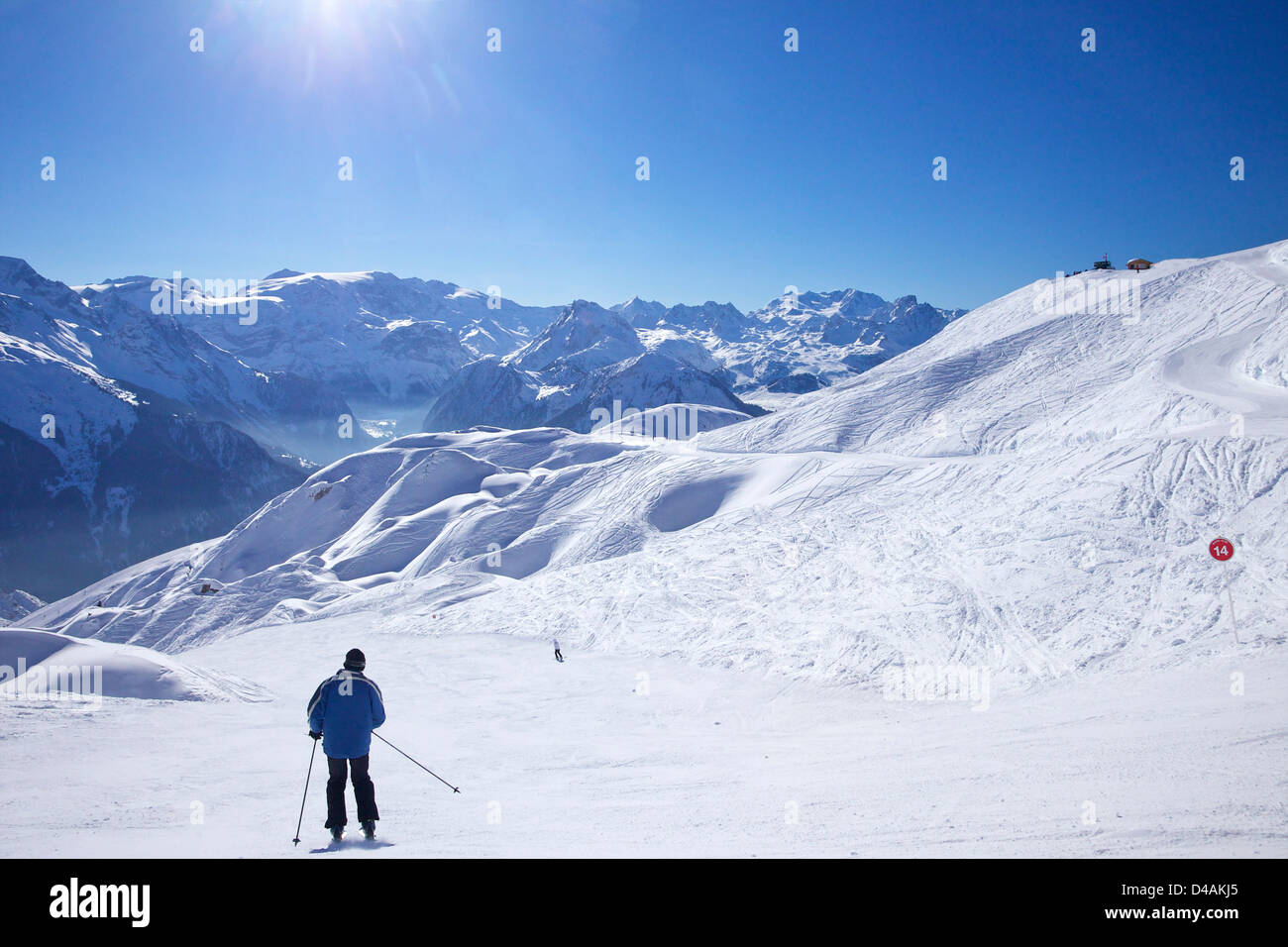 Hara-Kiri red piste from Les Verdons to Champagny, La Plagne, France, Europe - Stock Image
