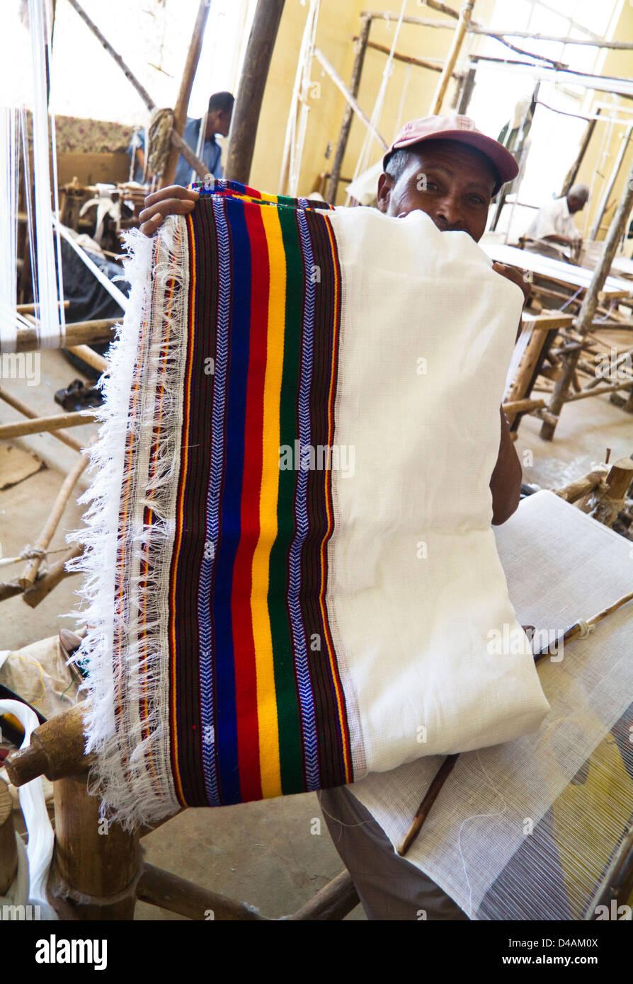 Weaving factory, Gondar, Ethiopia - Stock Image
