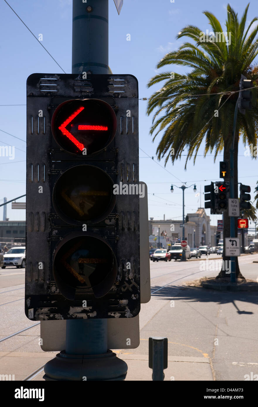 Attractive 3 Way Left Turn Signal Street Traffic Controller Device Downtown City  Corner Currently Showing Red Arrow Ideas