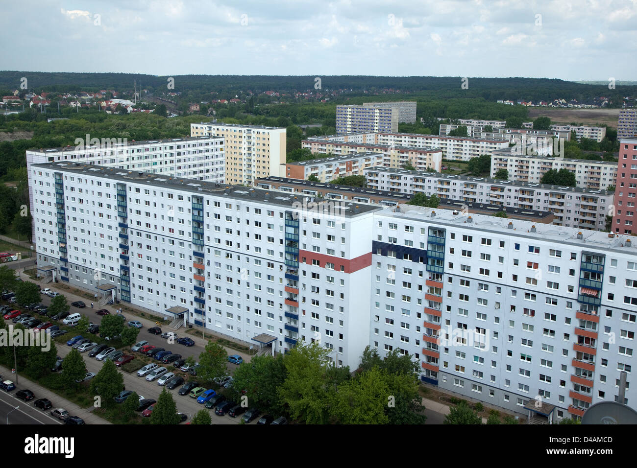 Halle, Germany, newly renovated prefabricated - Stock Image