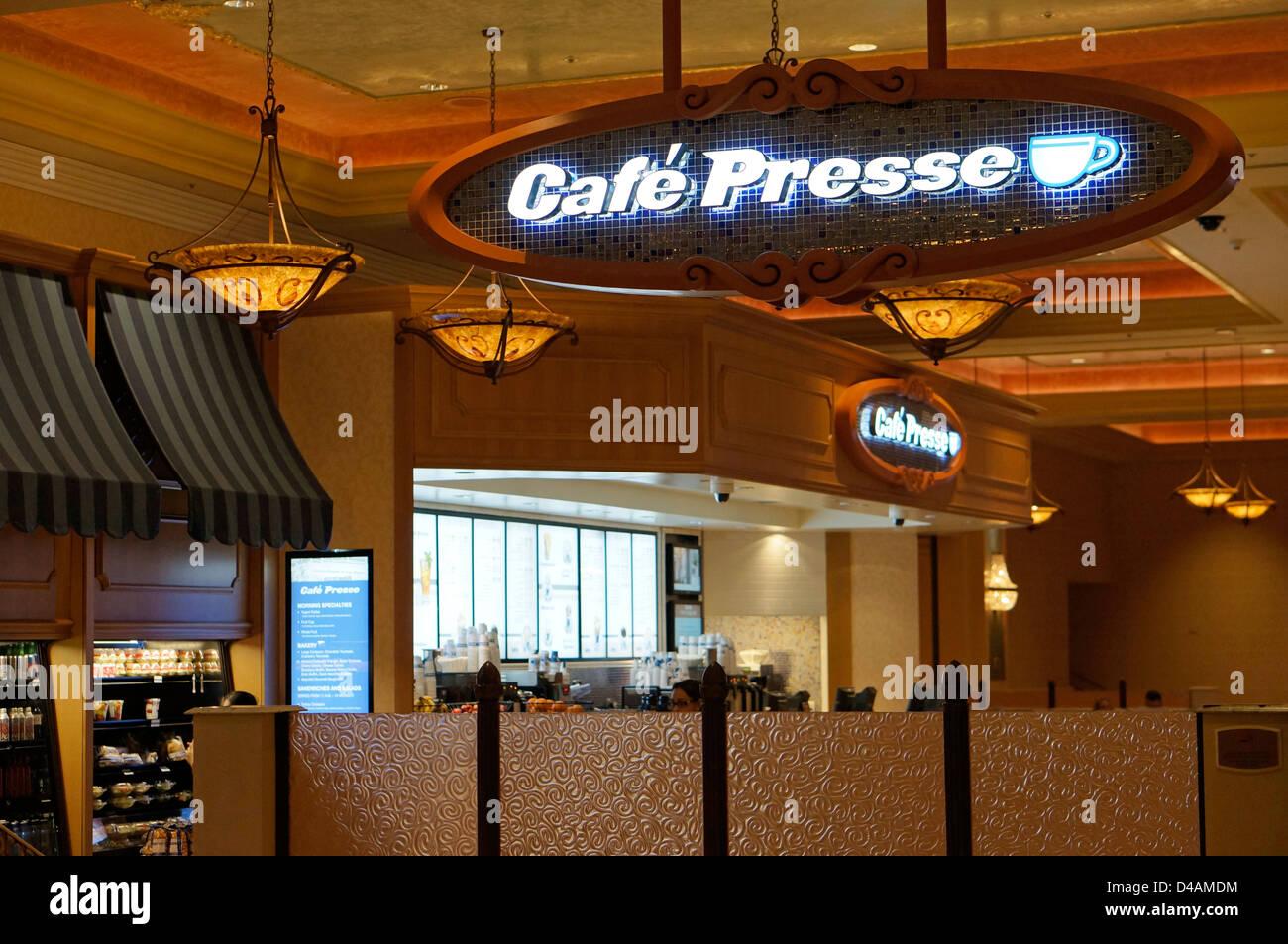 Cafe Presse in the Venetian, Las Vegas - Stock Image