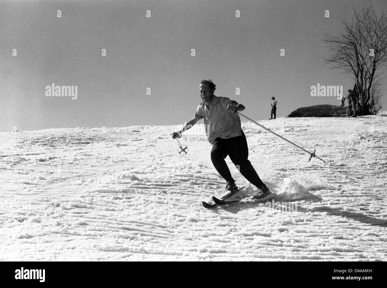 Oberwiesenthal, GDR, a man goes skiing Stock Photo