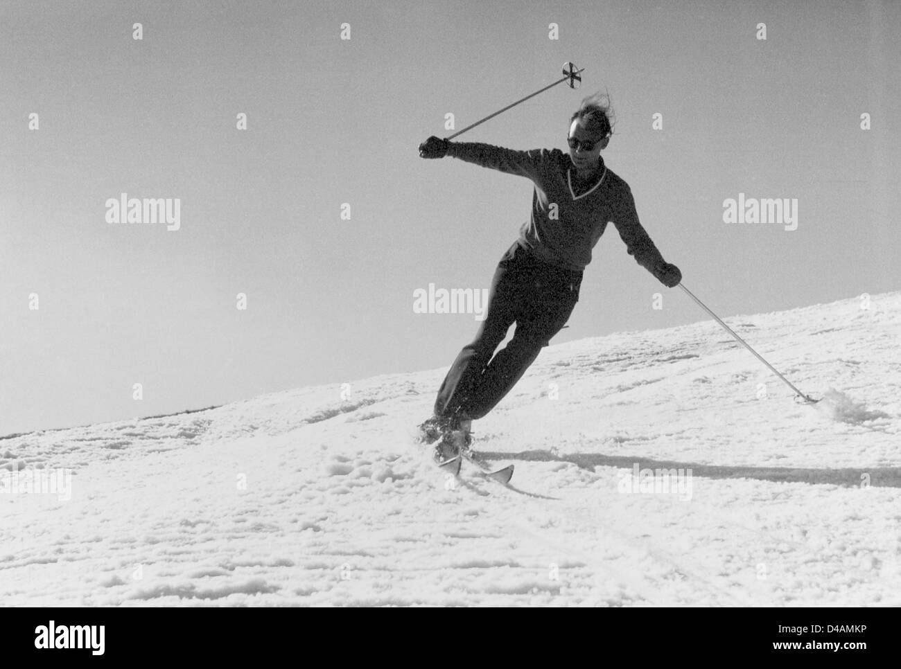 Oberwiesenthal, GDR, a man goes skiing - Stock Image