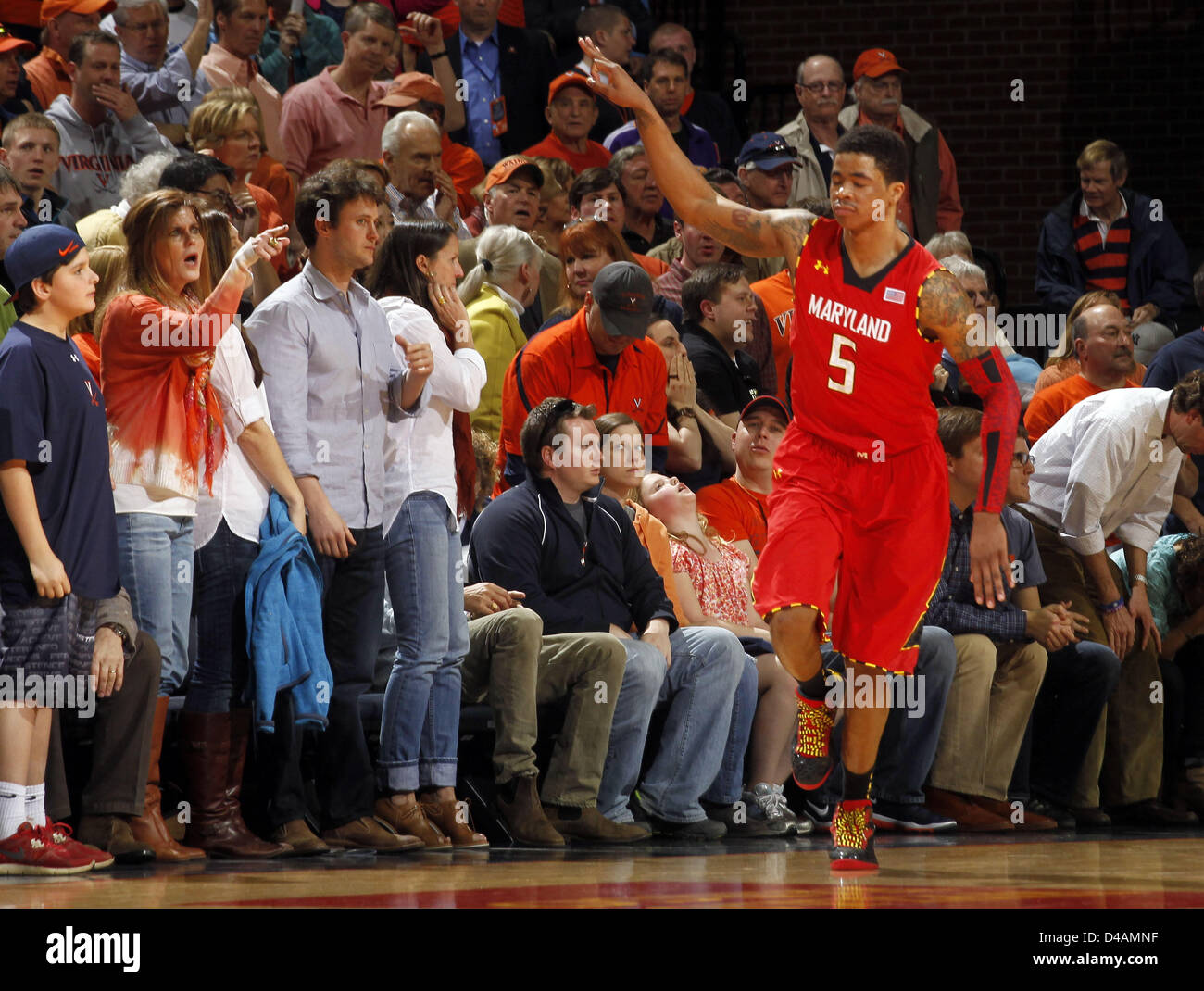 March 10, 2013 - Charlottesville, Virginia, USA - Maryland guard Nick Faust (5) reacts to a play during the game - Stock Image