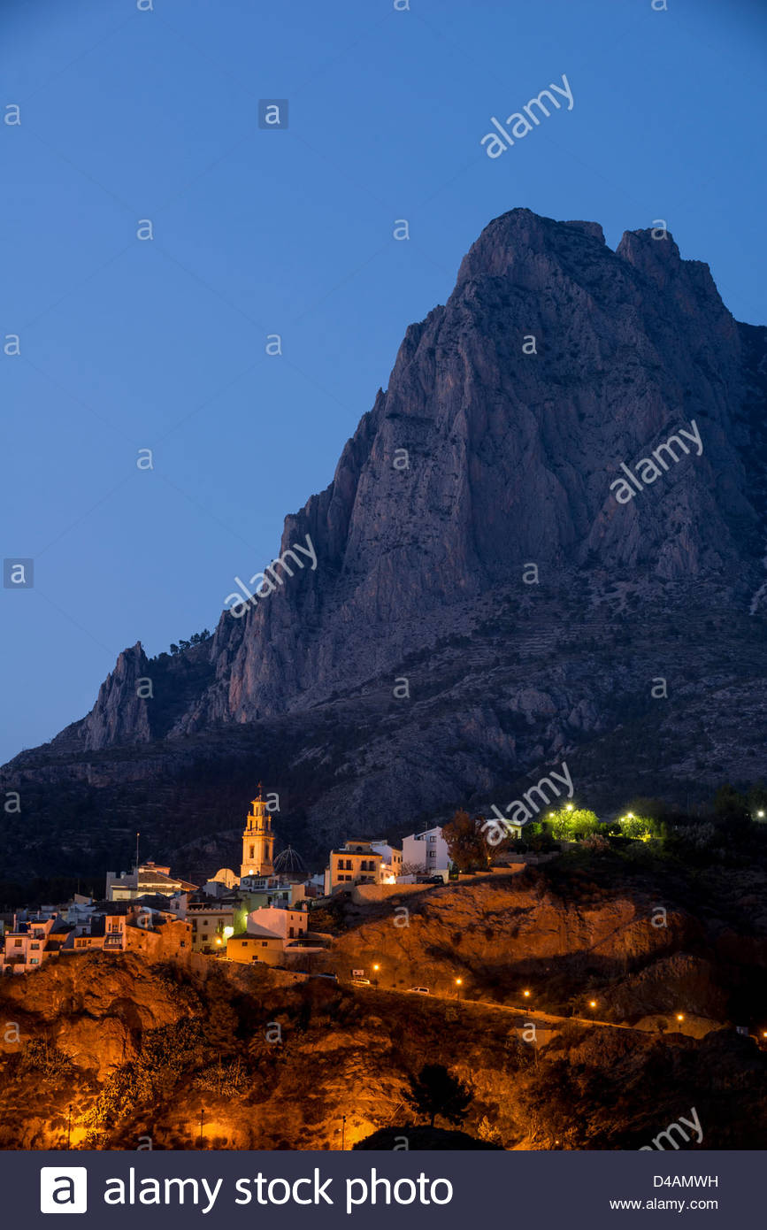Puig Campana Massif above the old village of Finestrat - Stock Image