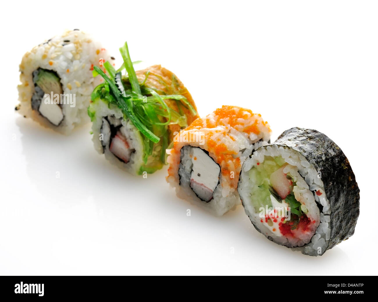 Sushi Assortment On White Background - Stock Image