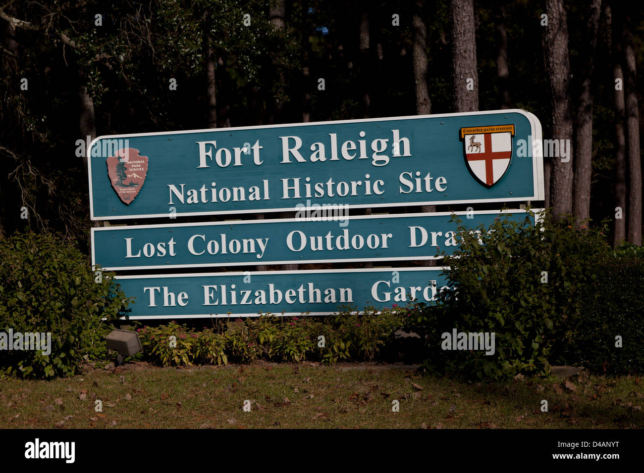 Sign to Fort Raleigh National Historic Site on Roanoke Island in North Carolina Stock Photo