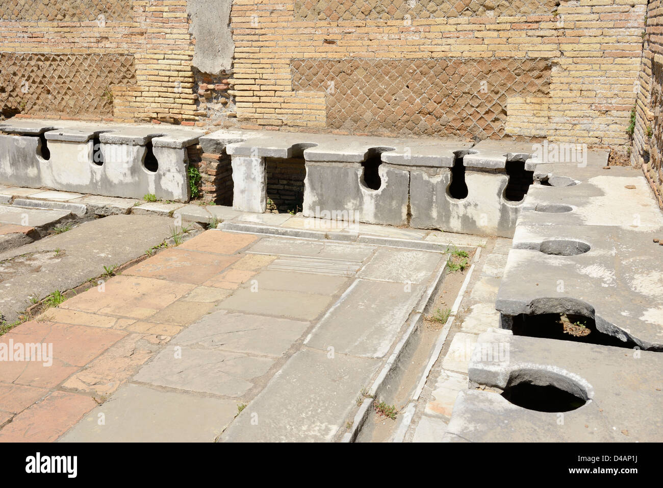 Ancient Roman Bathroom At Ostia Antica Near Rome Italy