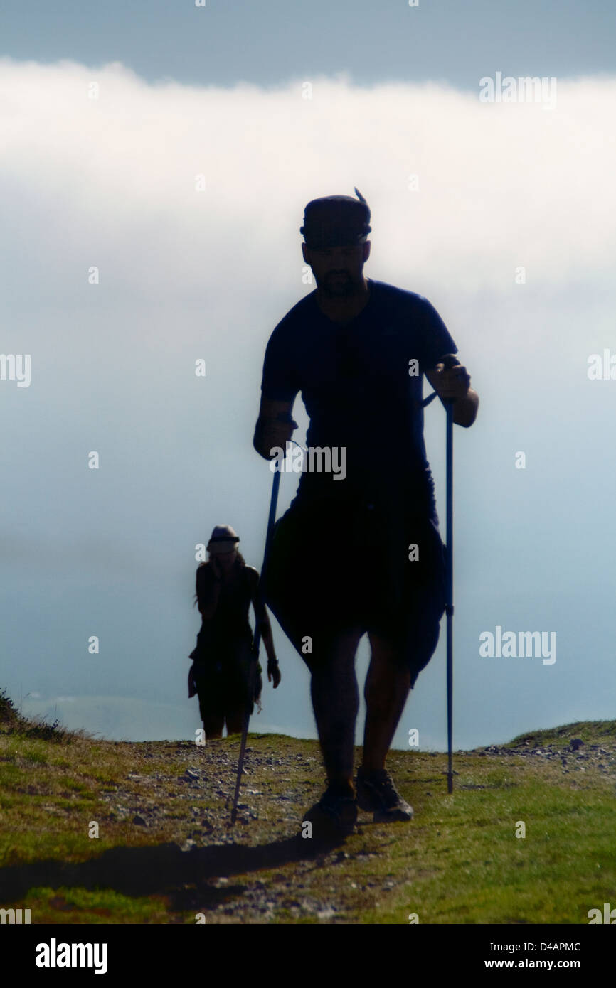 Europe Spain Asturia People Person Camino Santiago Compostela Mountain Trekking Pilgrim Pilgrims Pilgrimage Way - Stock Image