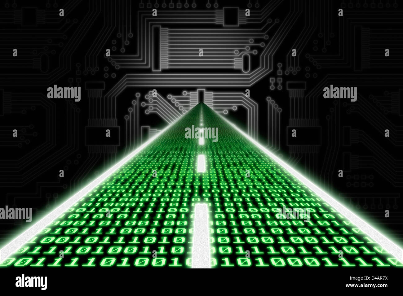 Green Circuit Board Or Information Super Highway Gl Stock Images