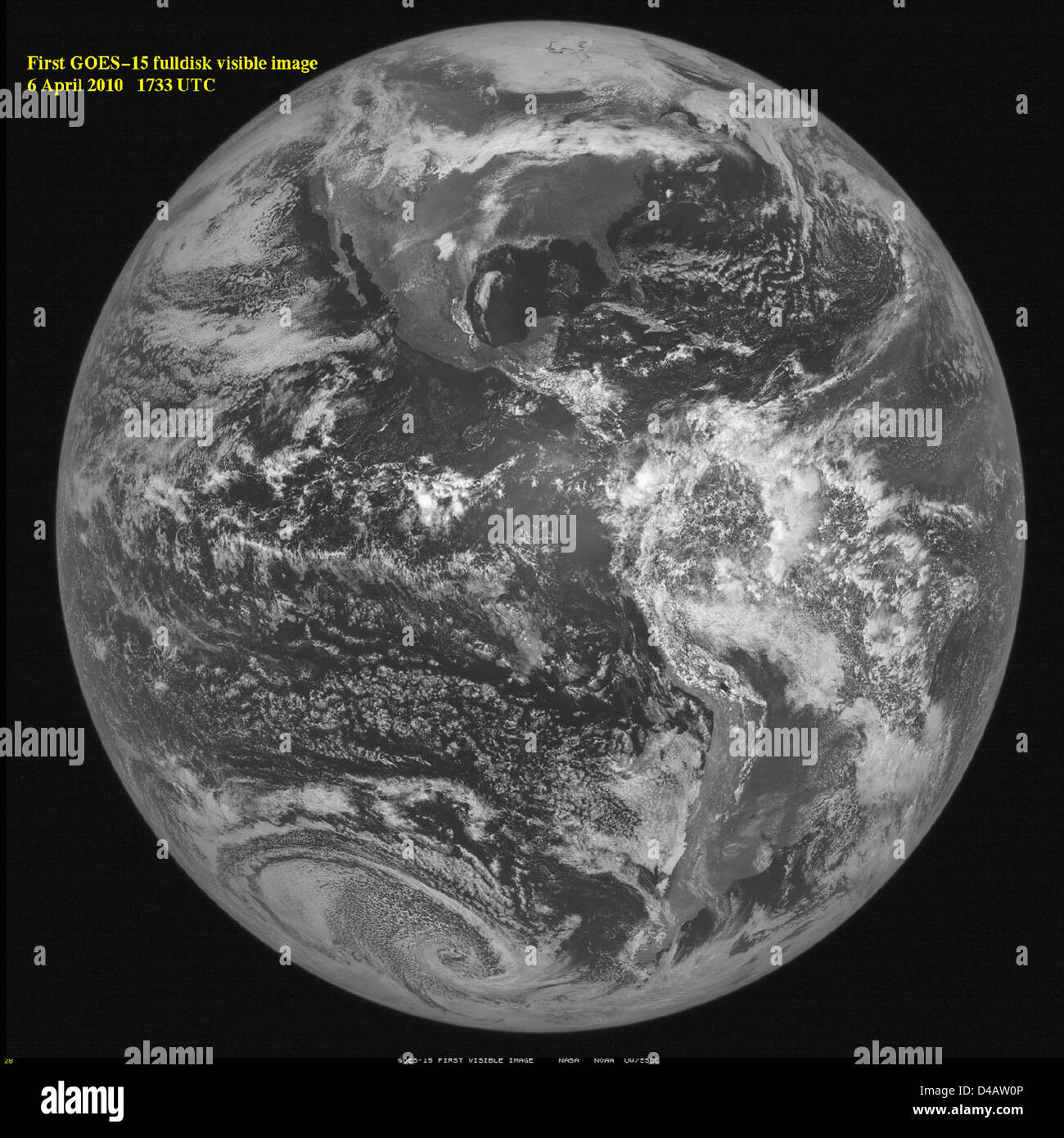 GOES-15 Opens Its 'Eyes' and Sees First Image of Earth - Stock Image