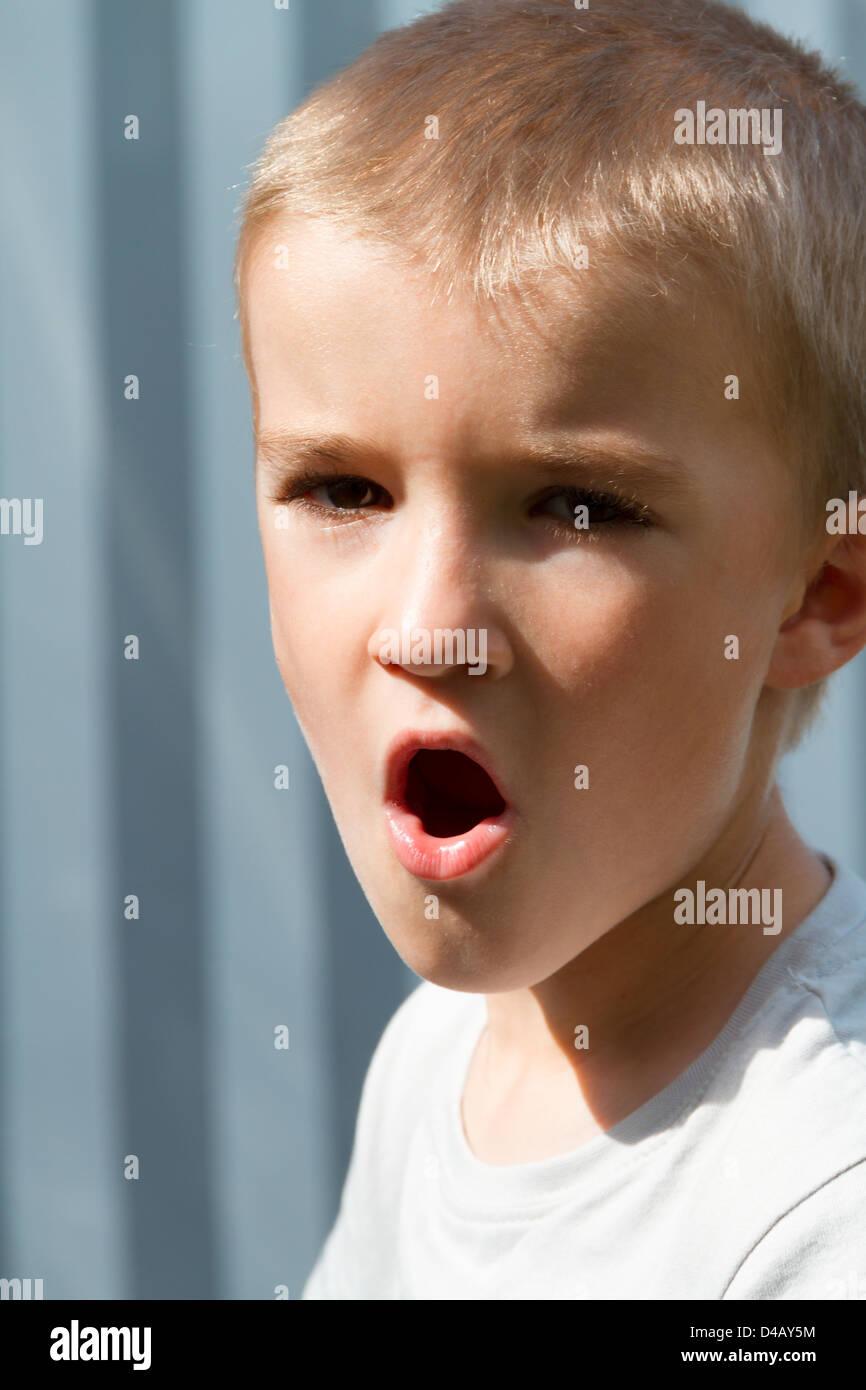Portrait of boy (6-7). Stock Photo