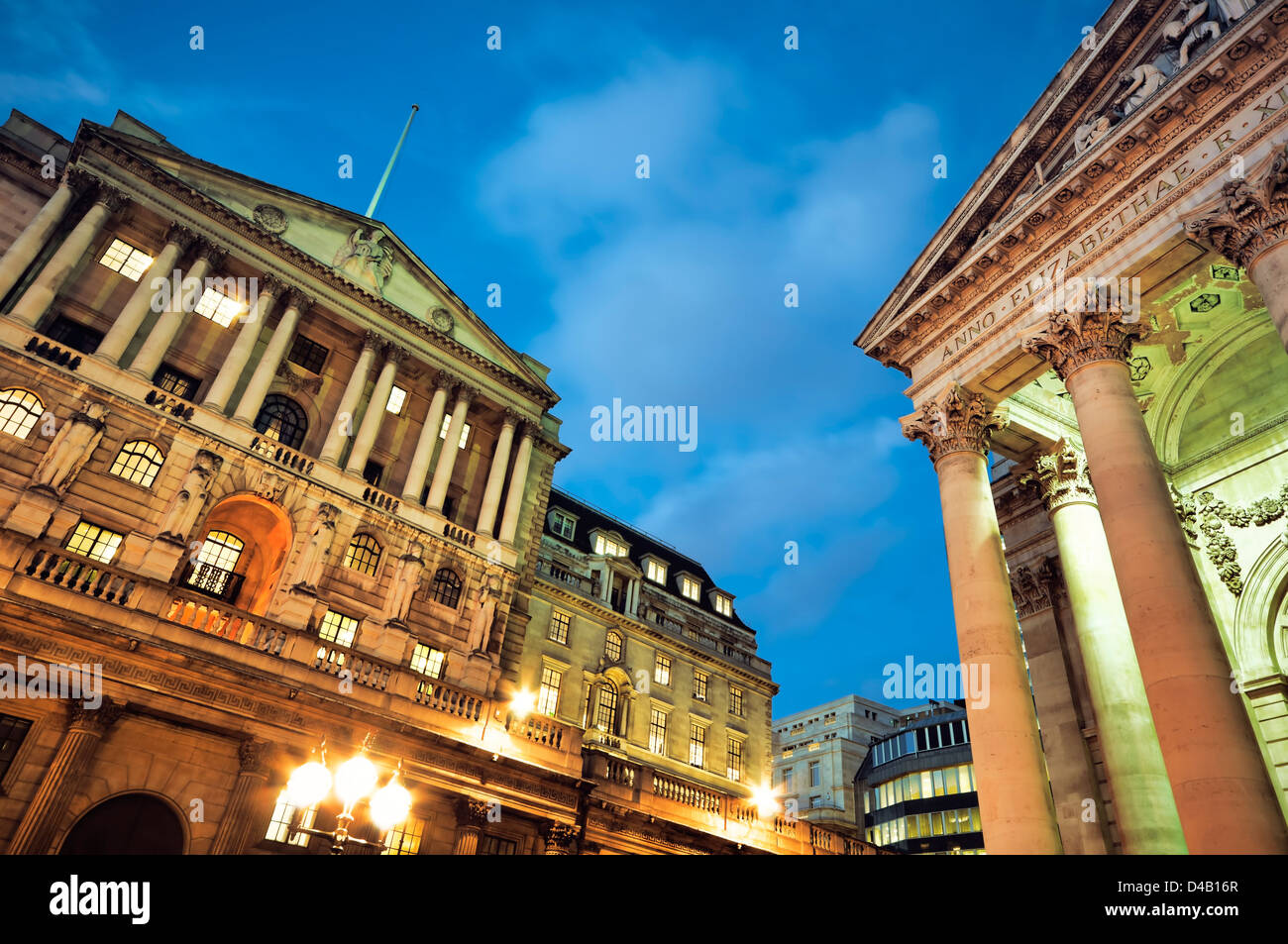 Bank of England and Royal Exchange at night. - Stock Image