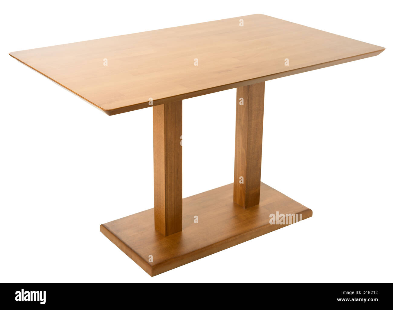 Wooden table isolated on white - Stock Image