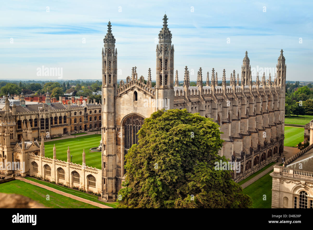 Ariel view of Kings College, Cambridge. - Stock Image