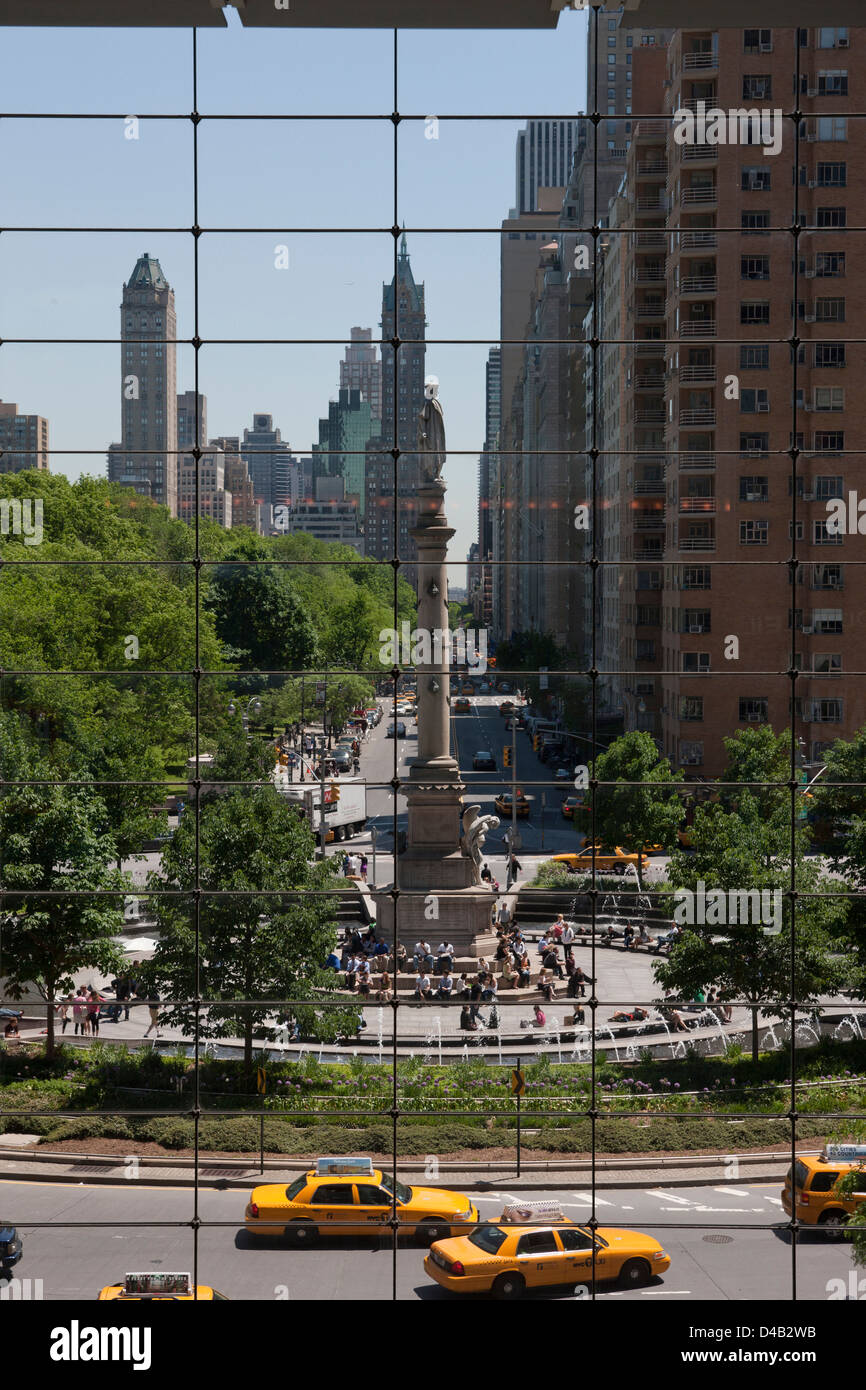 COLUMBUS CIRCLE AND CENTRAL PARK SOUTH FROM TIME WARNER MALL MANHATTAN NEW YORK CITY USA Stock Photo
