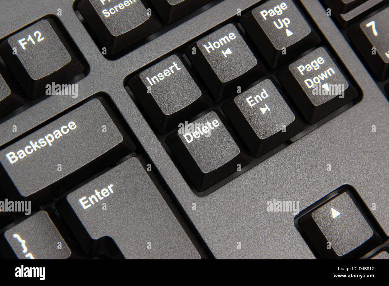 Close up of delete button on computer keyboard - Stock Image