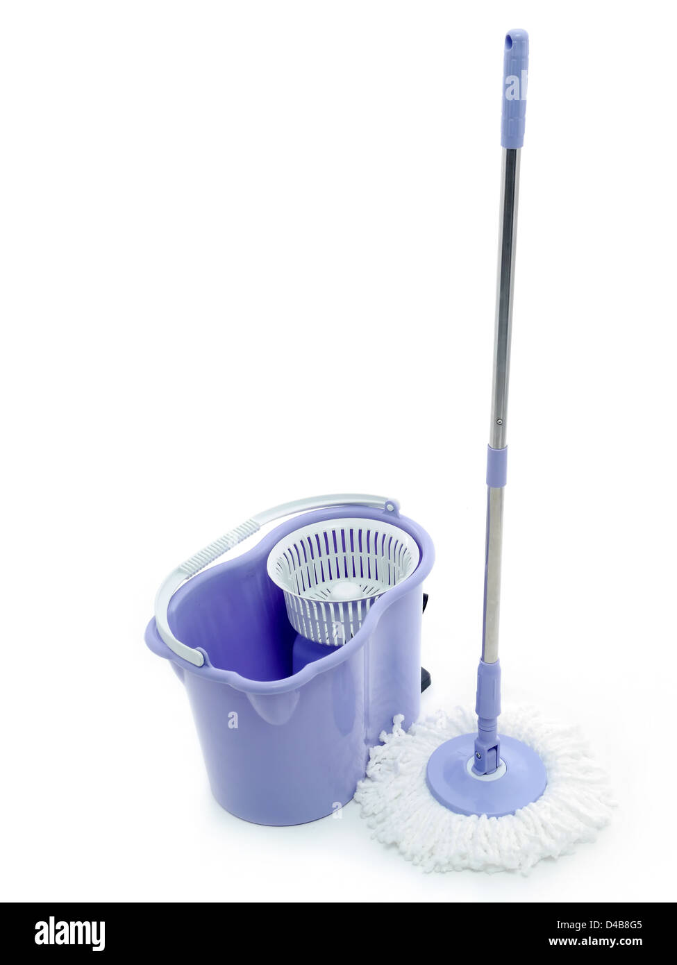 Rotary mop and empty bucket shot on white background - Stock Image
