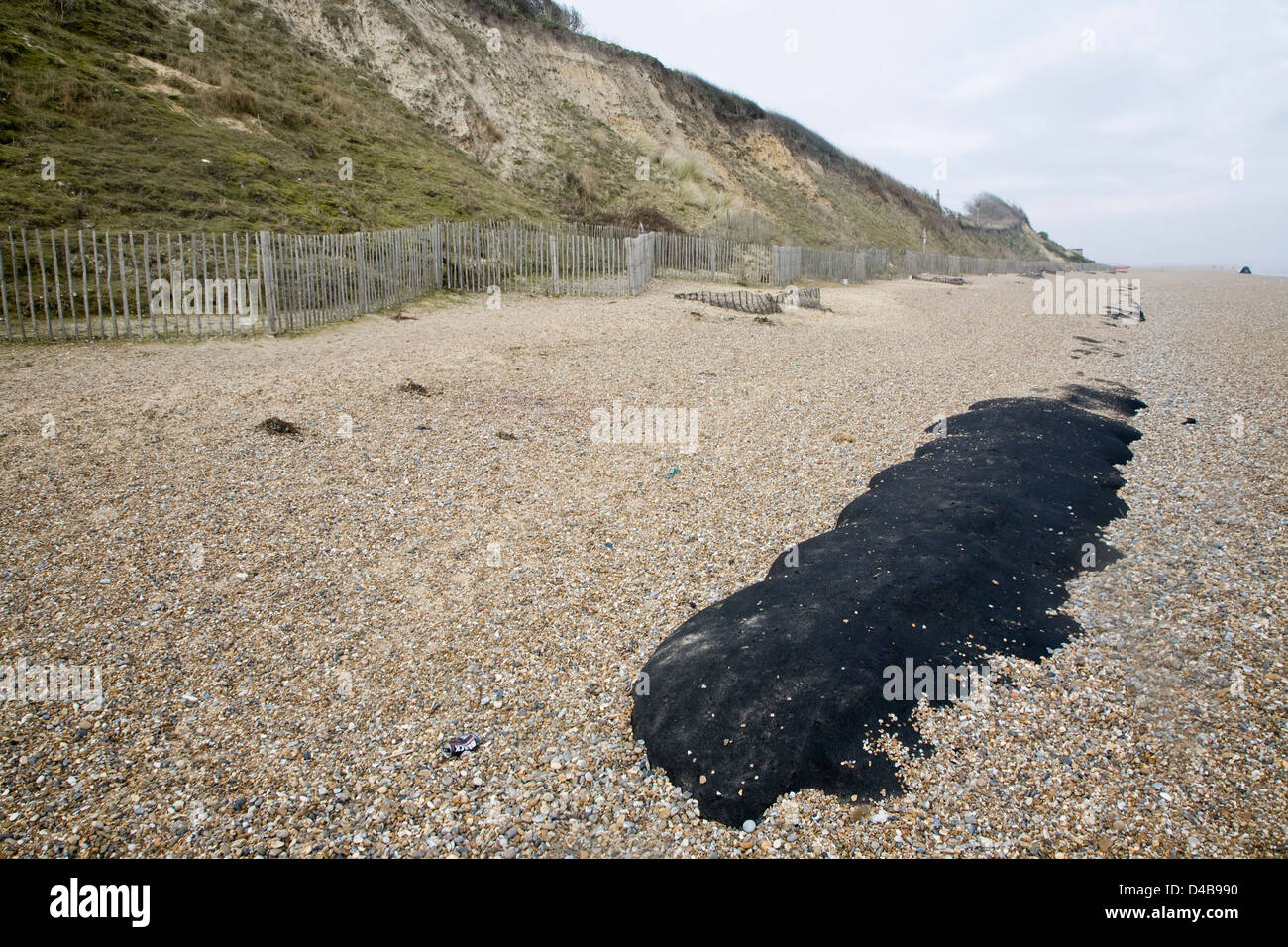 Soft engineering coastal defences at Dunwich, Suffolk, England Stock Photo