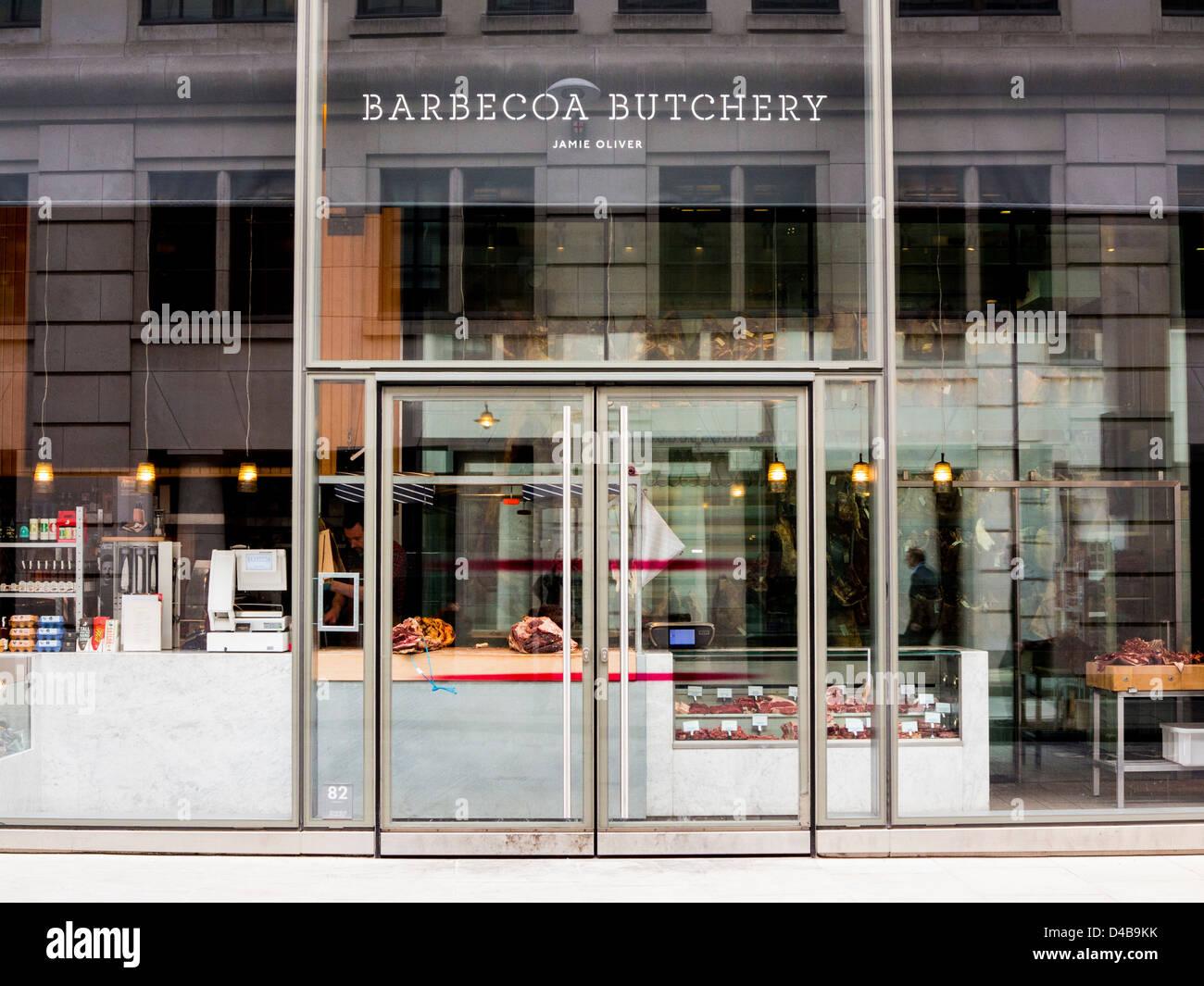 Jamie Oliver's Barbecoa Butchery in London, England - Stock Image