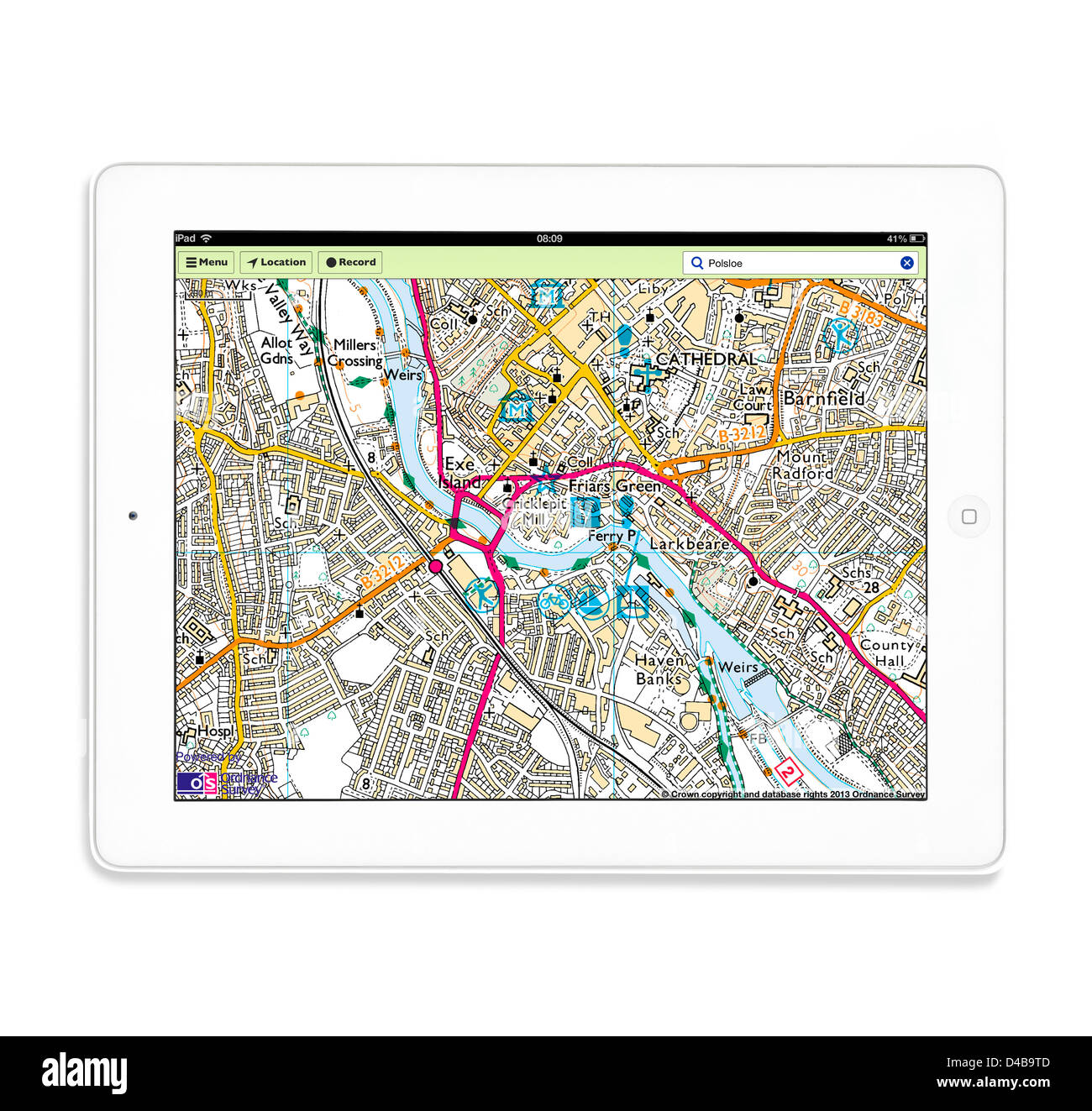 using the os mapfinder app on a 4th generation apple ipad tablet computer stock image