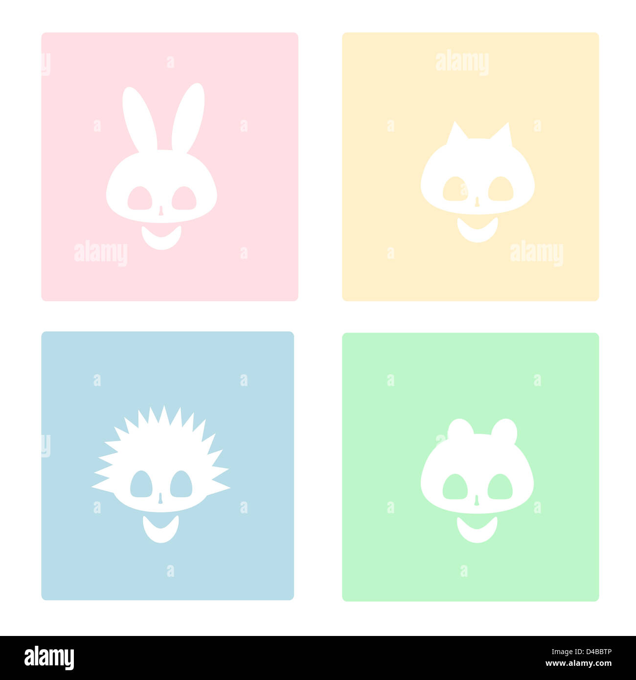 skulls of various animals on a colored background - Stock Image