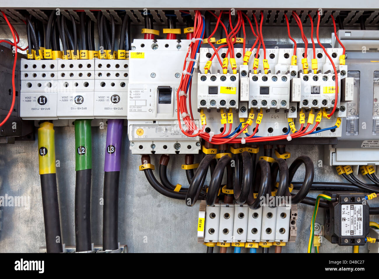 electrical panel with fuses and contactors  - stock image