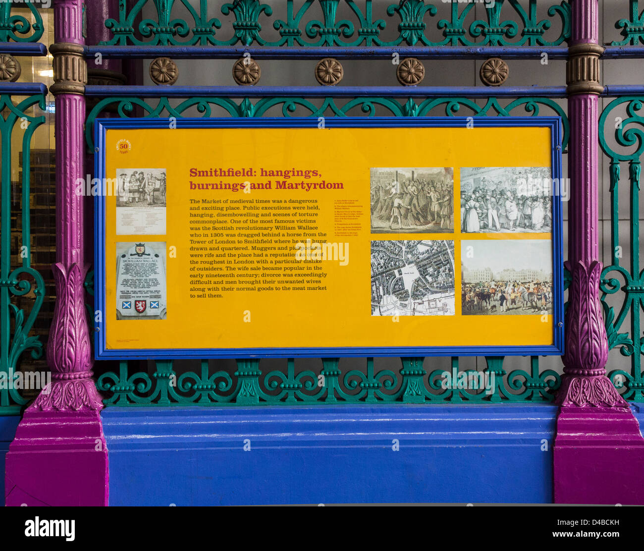 Information sign about Smithfield Market's history, London, England - Stock Image