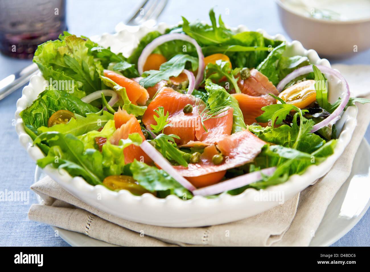 Smoked Salmon Salad With Sour Cream Dressing Stock Photo