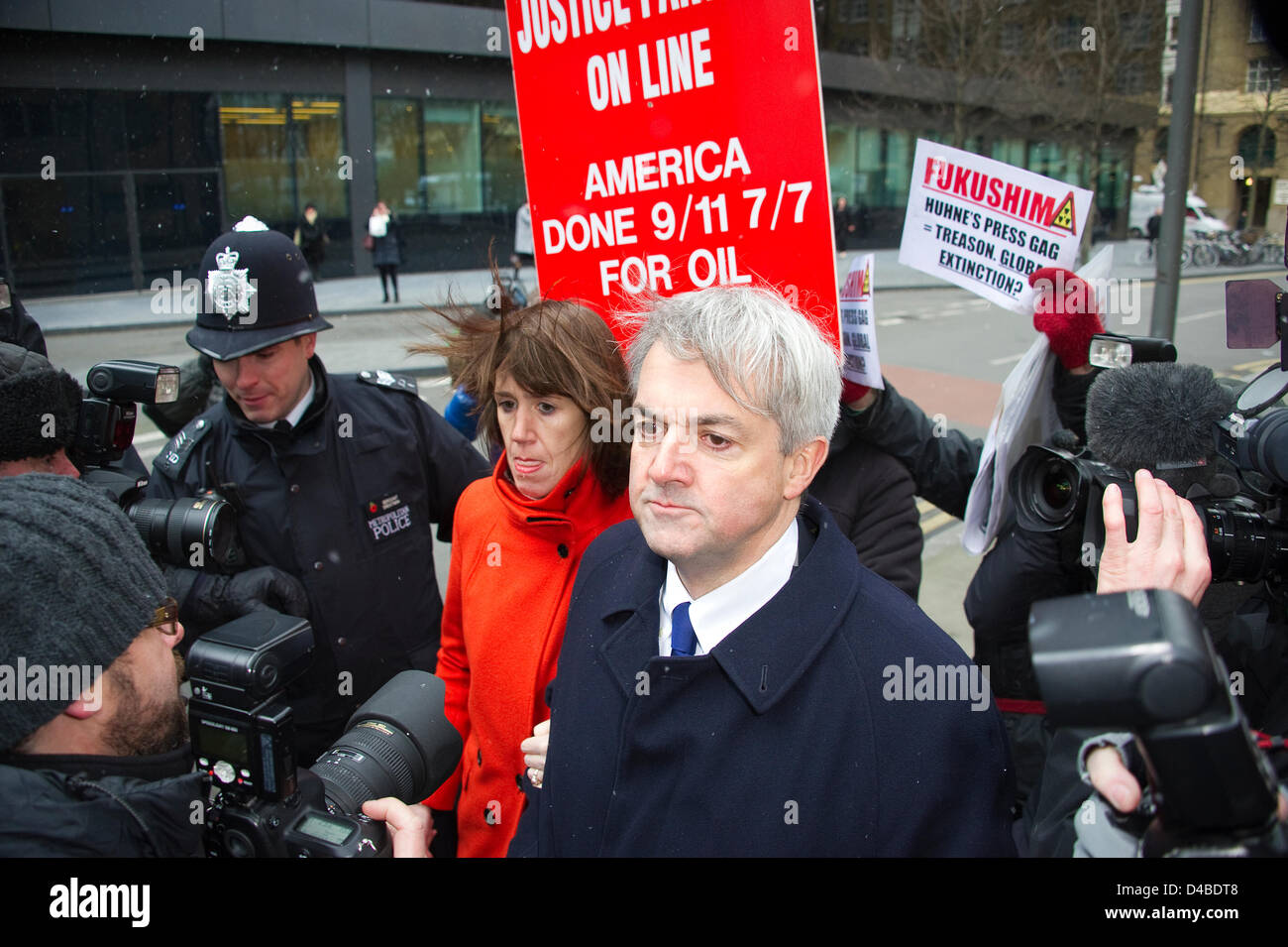 Southwark Crown Court, London, UK. 11th March 2013.  Chris Huhne arrives at Southwark Court to face a possible jail - Stock Image