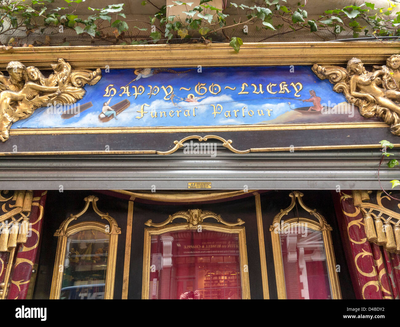 Happy-Go-Lucky Funeral Parlour in Drury Lane, London, England - Stock Image