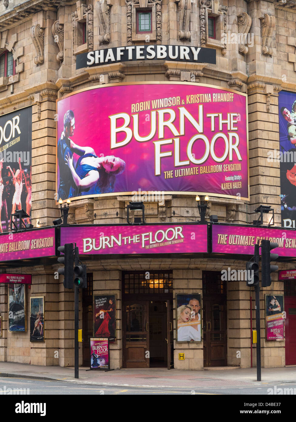 Shaftesbury Theatre with signs for Burn The Floor Musical, London, England - Stock Image