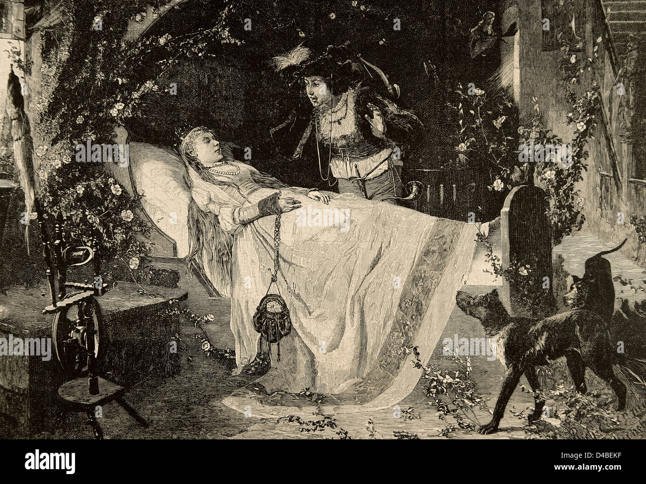 The Sleeping Beauty. The miracle of love. Engraving in The Iberian Illustration, 1885. - Stock Image