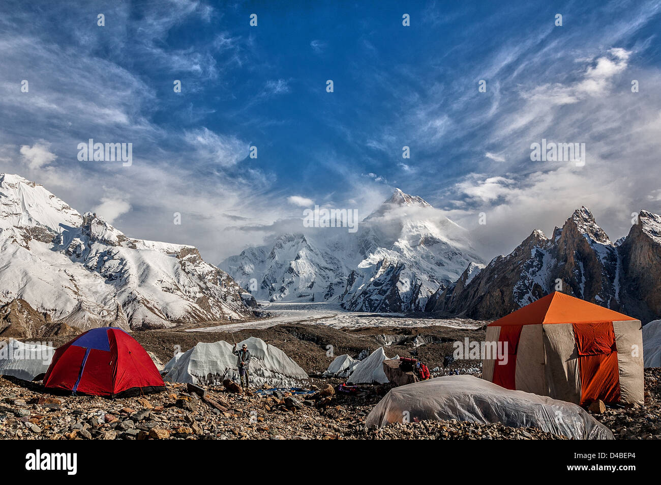 Masherbrum 7281m is located in the Gilgit Baltistan of Pakistan. - Stock Image
