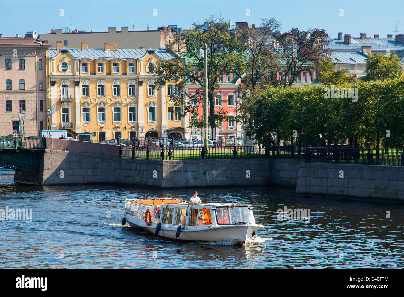 St. Petersburg, Tour Boat on the Canal - Stock Image