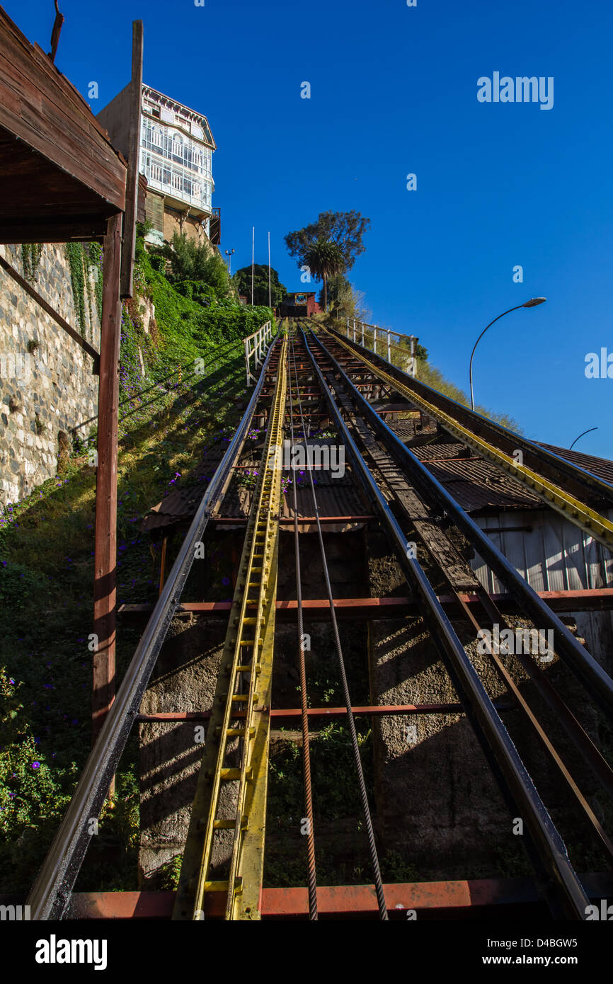 Looking up the Artillería funicular rail tracks in Valparaiso Chile, UNESCO World Heritage site - Stock Image