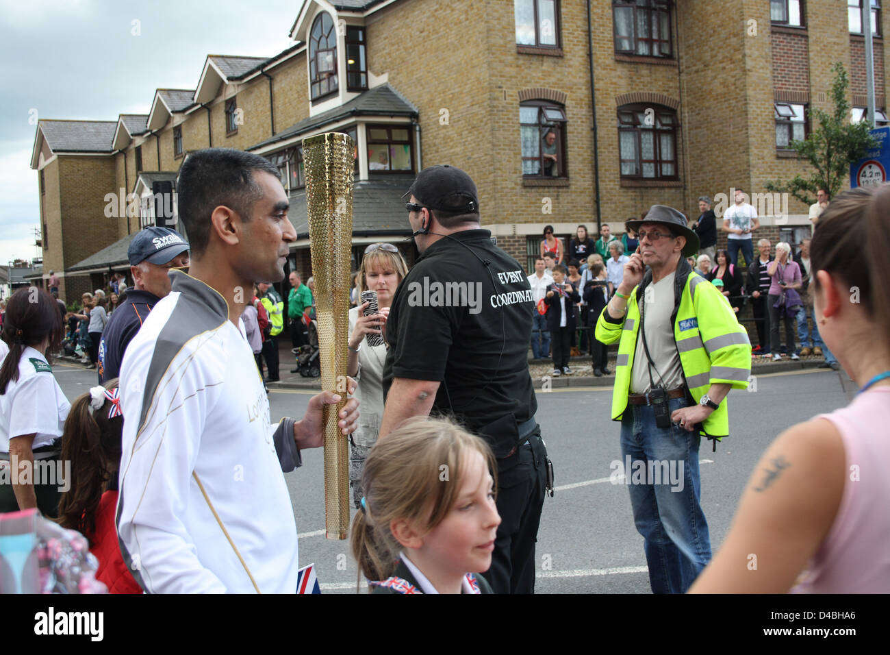 Torch relay in Faversham, Kent. - Stock Image