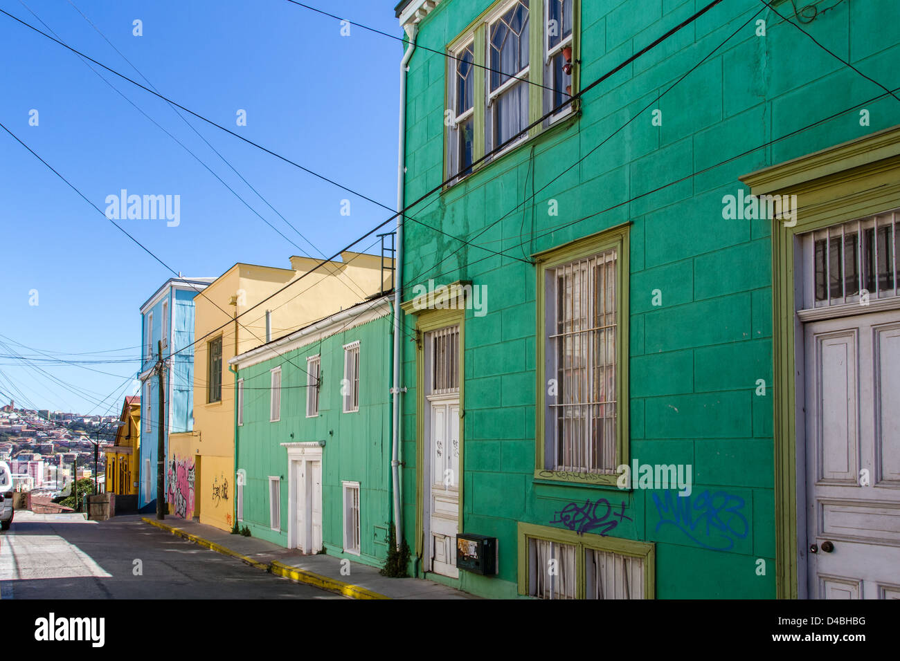 The vibrant streets of Valparaiso, Chile, UNESCO World Heritage site - Stock Image