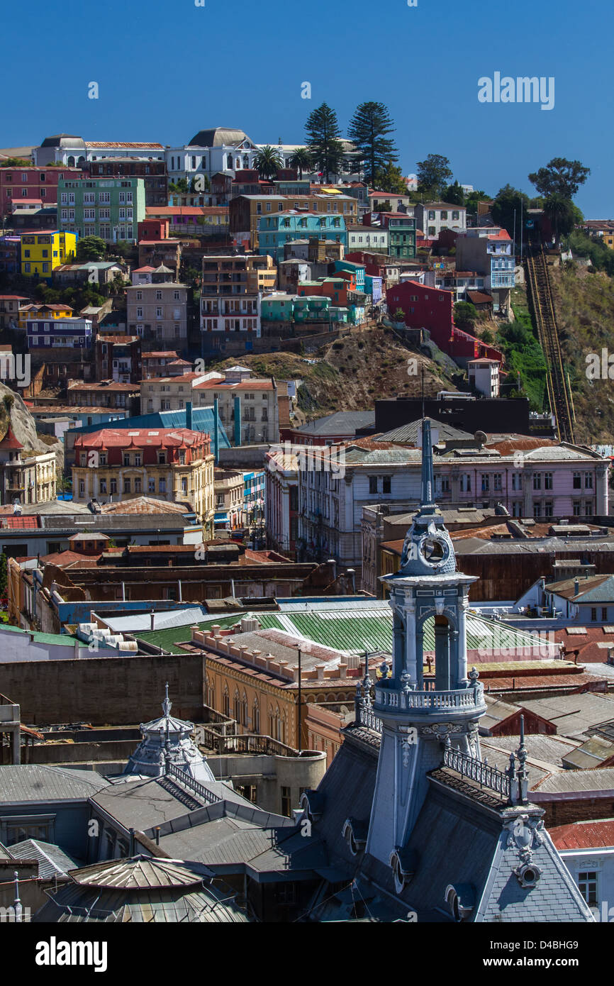 Vertical view of the vibrant streets and colourful houses of Valparaiso including a funicular, Chile, UNESCO World - Stock Image